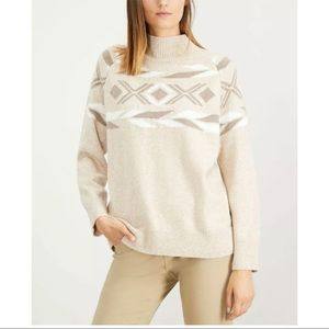 New Calvin Klein placed pattern mock neck sweater